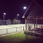 Tennis courts at night