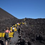 The walk up to the summit of Cerro Negro carrying our packs and boards