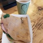 ham, spinach, and potato crepe and amazingly delicious coffee