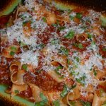 Pappardelle w tomato meat sauce