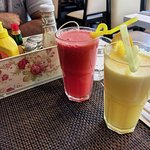 Two juices: orange and watermelon