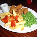 Scampi & chips enjoyed by my friend
