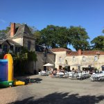 The courtyard with bouncing castles, bar, reception, play rooms and restaurant