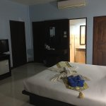 Sunset views from the room and pool. Tidy tile bathroom with shower. Spacious clean room with a/