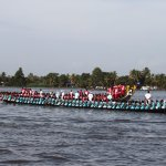 Boats retreating after a race on Lake Vembanad on 12 Aug, 2017