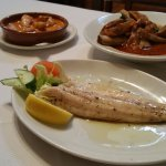 Sea bass, chicken with paprika and Iberian ribs