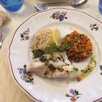 Dos de cabillaud, riz et petits légumes