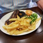 Lovely sirloin steak for two people £21.95 with a bottle of wine.
