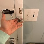 lock is busted - that's black electrical tape behind the light switch