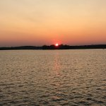 sunset on Pelican Lake from Breezy Belle