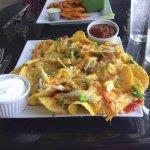 Chicken nachos, a giant platter