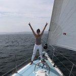 Stephanie loving life aboard the Anjacaa