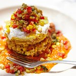 Marinis Fried Green Tomato with Sweet Corn