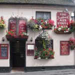Display of flowers outside the Union Inn at Moretonhampstead