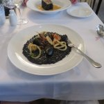 Seafood risotto with cuttlefish/squid ink