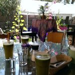 Lovely garden seating with refreshing organic juice!