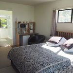 Studio queen bed, kitchenette and ensuite