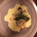 Delicious pan fried sea bream with crayfish butter sauce.
