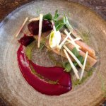 Trout and beetroot starter
