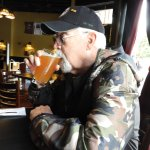 Eric trying the Spruce Tip Blonde Beer at the Skagway Brewing Co.