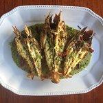 Grilled Moreton Bay Bugs with basil pesto cream