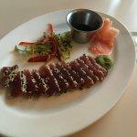 Seared sesame crusted tuna appetizer.