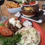 Lamb burger, Black bean chilli, Salad with steak'n artichoke kabob.