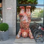 Australian conection, aboriginal art berlin bear outside hotel