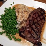 Strip Loin Steak with Mashed Potatoes and Peas