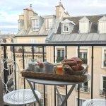 Breakfast on the balcony. Amazing croissants!