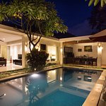 Pool, living and dinning area of 4 BR Villa
