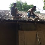 Not monkeys to enjoy... roof maintenance right in front of your stay