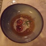 Soupe glacé à l'abricot, romarin et riz au lait