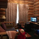 As you can see very rustic like cabins and extremely comfortable bed!! Clean linens and my chees