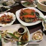 The food we ordered, Squid, cran, ensaladang talong