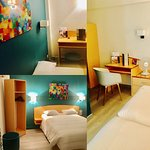 C était très cool la Deco de notre chambre , parquet , chaise tendance , murs bleu canard bref c