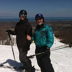 Enjoying a lovely spring skiing day with my son