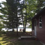 cabin entrance and lake view