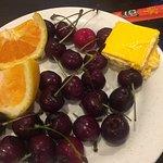 fruits and Japanese cheesecake