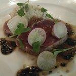 Seared Yellow Fin Tuna, Sesame, Avocado Puree, Lambay Crab, Yuzu Jelly