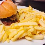 Our mouth-watering Picagna burger with a side of chips!