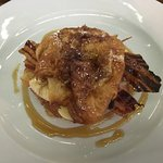 Crossant with banana and bacon.