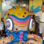Fun model of octopus in front of restaurant.