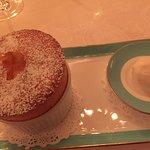 Lemon soufflé and Creme fraiche ice cream - beautifully light soufflé and not overly sweet