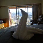 "Towel ""swan."" Note the mountains through the window."