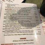 Partial Menu for Bedford Street Diner