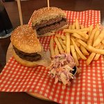 Cheese Beef Burger with Chips and Coleslaw