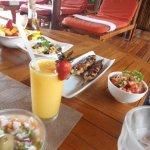 Great lunch, Tuna, fruit salad, barbecue chicken,salsa, smoothie, wine, pasta