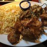 Shrimp Alfredo, coconut shrimp and scallops! Delicious!