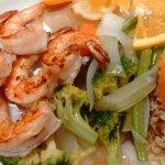 6 PcGrilled Jumbo Shrimp w/Grilled Veggies, Cajun Rice & Salad